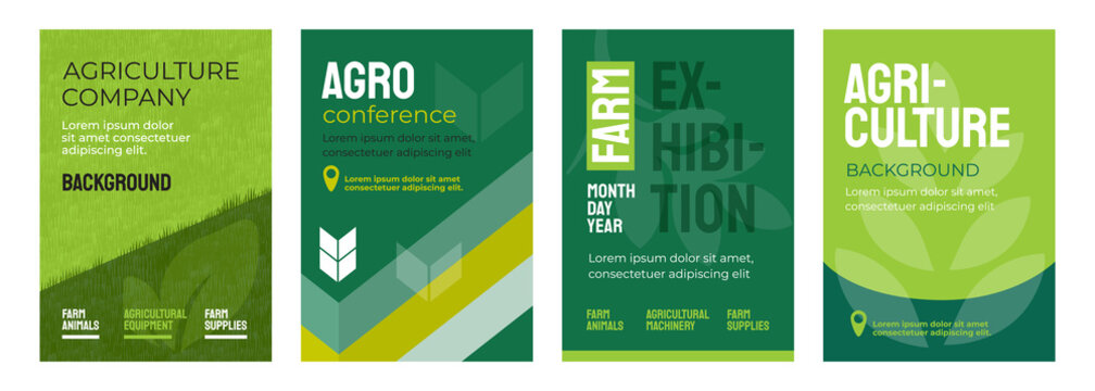 Set of vector illustrations with agricultural concept. Design for agro conference, farm exhibition. Group of agri poster with geometrical composition. Background for banner, flyer, layout, cover, ad.