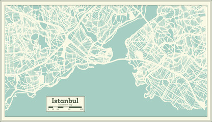 Istanbul Turkey City Map in Retro Style. Outline Map.