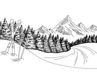 Mountain skiing graphic black white landscape sketch illustration vector