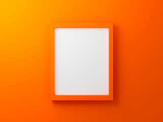 3d render interior illustration for display. Blank photo frame template on gradient wall texture in gallery. Empty clean picture on orange background for mockup and place image. Modern design concept.