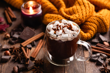 Papiers peints Chocolat Mug Of Hot Chocolate With Cinnamon and Marshmallows On Old Wooden Table. Comfort Food