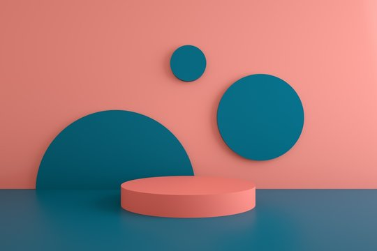 3d rendered studio with geometric shapes, podium on the floor. Platforms for product presentation, mock up background. Abstract composition in minimal design.