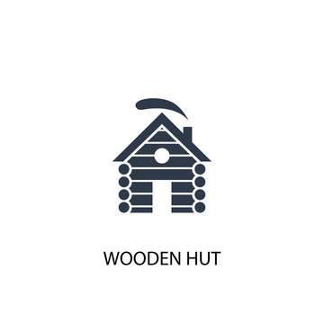 wooden hut icon. Simple element illustration