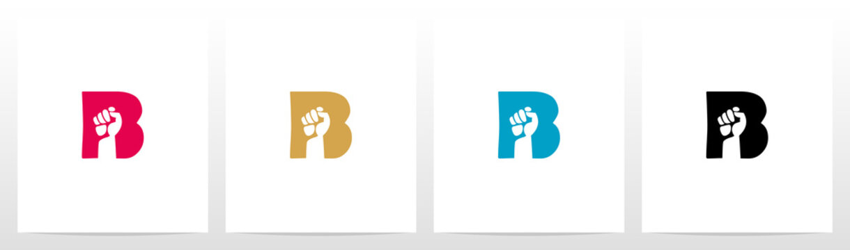 Fist Inside Letter Logo Design B