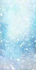 Printed kitchen splashbacks Light blue Abstract winter christmas background with shiny snow and blizzard. Space for text. Vertical for stories