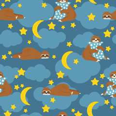 Little sleeping sloth bear lying down and hug pillow on blue background with clouds and stars and moons. Vector seamless pattern with cute hand drawn sloths in cartoons style.