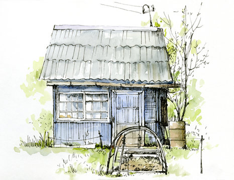 Sketch drawn in watercolor and outline. Country house, village housing.