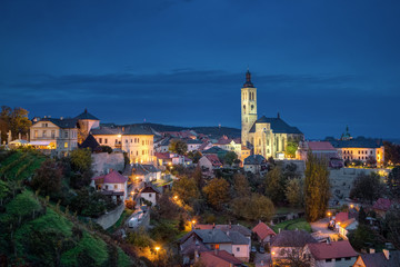 Kutna Hora, Czechia. Cityscape at dusk with Church of Saint James