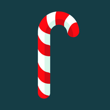 candy cane christmas candy flat design isolated vector illustration