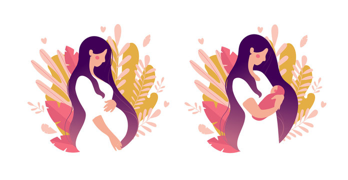 Set of illustrations about pregnancy and motherhood. Pregnant woman with tummy on a background of leaves. Girl with a newborn baby on a natural background. Flat stock vector illustration isolated on a
