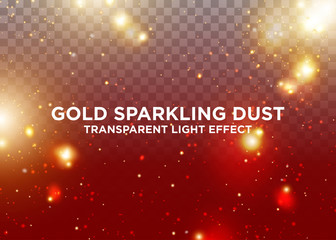 Transparent Light Effect. Gold Sparkling Dust. Design Element for Christmas Celebration. Lens Flare Overlay. Magic Luminous Particles with Bokeh Effect.