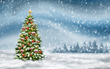 christmas tree on winter background, Decorative Christmas wallpaper, art illustration painted with watercolors