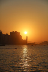 Beautiful colorful sunset in sulpur cannel ,hong kong city