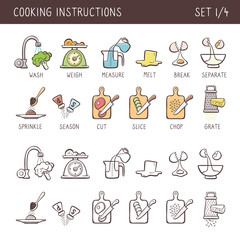 Set of 12 hand drawn cooking icons in two versions: doodle and colorful with descriptive name. Perfect for cookbooks and explain recipes. Vector icons isolated on white background. Set 1 of 4.