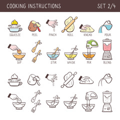 Set of 13 hand drawn cooking icons in two versions: doodle and colorful with descriptive name. Perfect for cookbooks and explain recipes. Vector icons isolated on white background. Set 2 of 4.