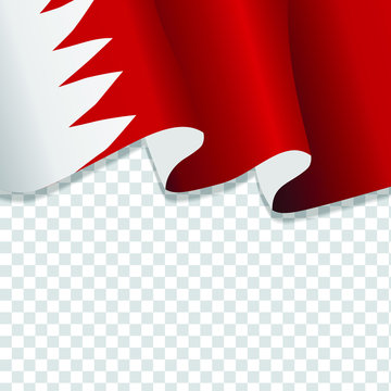 Waving flag of Bahrain. illustration of wavy Bahrain Flag for National Day. Bahrain Flag Flowing. Bahrain flag on transparent background