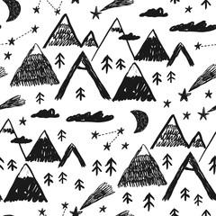 Cute hand drawn mountain seamless pattern landscape. Perfect for cards, invitations, wallpaper, banners, kindergarten, baby shower, children room decoration. Scandinavian landscape.