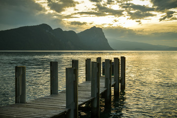 Beautiful view on Lake Luzern and Swiss Alps as seen from village of Vitznau