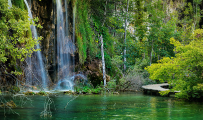 Boats in the national park Plitvice, Croatia Wall mural