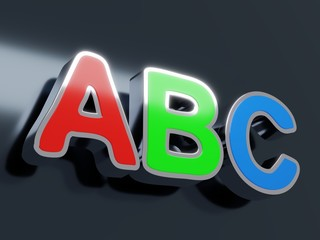 ABC glossy colored letters on black metallic background