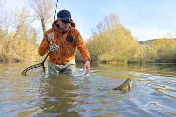 capture of a trout by a fly fisherman in autumn Fotomurales