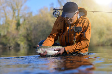 capture of a rainbow trout by a fly fisherman in autumn