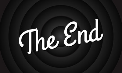 The End movie screen background. Vintage cinema or film poster. Retro circle frame. Vector illustration.