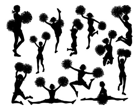 Cheerleader detailed silhouettes with pom poms