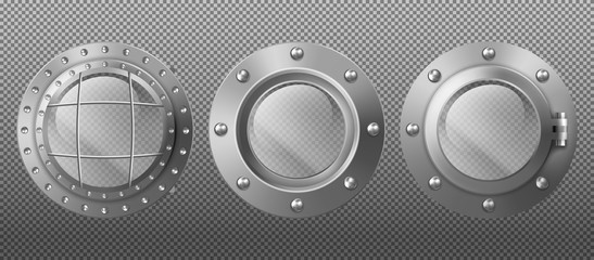 Metal round portholes in ship, submarine or spaceship. Vector set of realistic steel circle windows illuminators with rivets isolated on transparent background