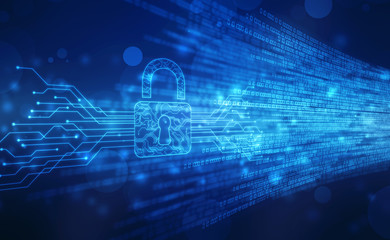 Security concept background , Closed Padlock on digital background, cyber security, Blue abstract hi speed internet technology background illustration
