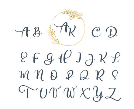 Handwritten calligraphy monogram alphabet. Cursive font with flourishes wreath. Cute Isolated letters. For postcard or poster decorative graphic design
