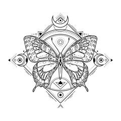 Obraz Mystic insect tattoo. Engraving mystical spiritual sketch design. Alchemy freemasonry occult vector symbol. Tattoo sketch freemasonry, animal sketchy illustration - fototapety do salonu