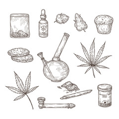 Sketch cannabis. Medical marijuana leaves, weed joint and bong, cbd oil. Hand drawn ganja vector set. Illustration sketch cannabis weed, natural organic hemp