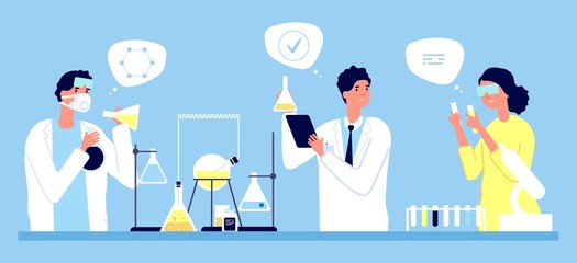 Laboratory concept. Scientists pharmaceutical tests vector illustration. Medicine, pharmacy, medical research. Illustration medical laboratory, pharmacy medicine test
