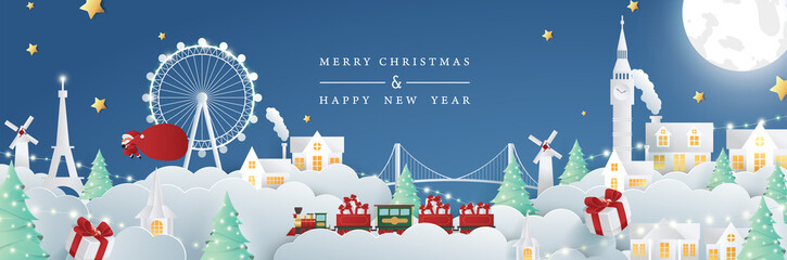 Merry christmas on tour composition in paper cut style. Vector illustration.