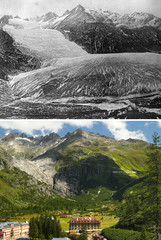 A combination picture shows the Rhone Glacier as it was in 1849 and in 2019
