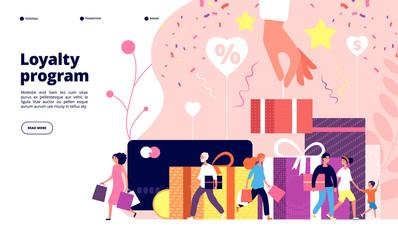 Loyalty program concept. Customer allegiance marketing program, discount rewards card, retail clients store. Advertisement vector design loyalty reward program illustration
