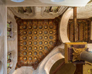Ceiling of Mausoleum of Sultan Qalawun, Sultan Qalawun Complex, with golden floral pattern decorations, Moez Street, Gamalia district, Cairo, Egypt