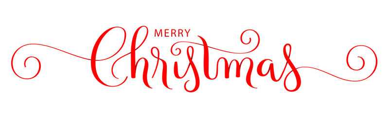 Wall Mural - MERRY CHRISTMAS red vector brush calligraphy with flourishes