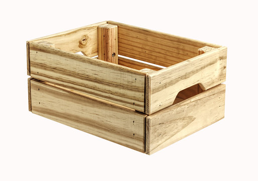 Empty wooden box isolated on white. background . Close up