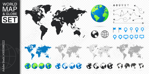 Wall mural Set of Maps and Globes. Pins, airplane, location, plane, globe icons. Planet with continents. Business infographics elements. Vector illustration.