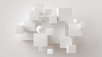 Chaotic cubes with copy space. White abstract geometric background.  3d rendering cubic minimal composition for corporate design template.