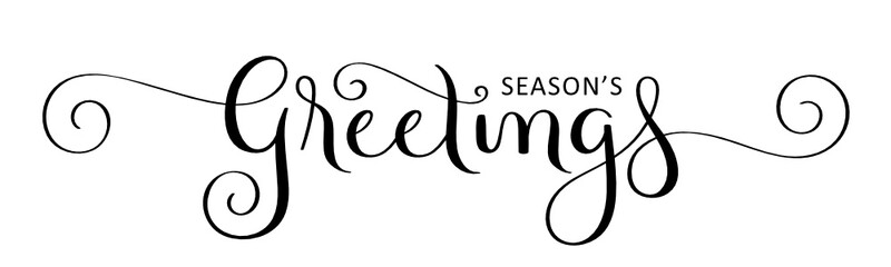Wall Mural - SEASON'S GREETINGS black vector brush calligraphy with flourishes