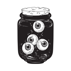 Human eyeballs in glass jar isolated. Sticker, print or blackwork tattoo hand drawn vector illustration