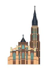 Wall Mural - Vector illustration of historic buildings of Bruges (Brugge), Belgium