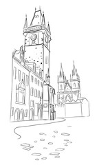 Wall Mural - vector sketch of View of Prague Orloj - medieval astronomical clock mounted on Old Town Hall in the Old Town Square, Prague, Czech Republic, Europe.