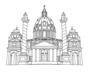 Wall Mural - vector sketch of  St. Charles's Church in Vienna, Austria