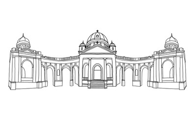 Wall Mural - Vector sketch of Entrance to Mirogoj cemetery with Church of King Christ in Zagreb, Croatia