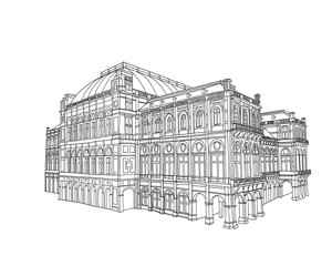 Wall Mural - Vector sketch of Vienna State Opera, Vienna, Austria.
