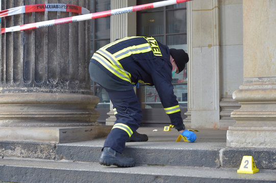 A policeman checks for evidence outside the Green Vault city palace after a robery in Dresden